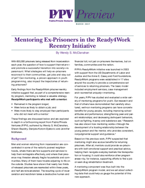 P/PV Preview: Mentoring Ex-Prisoners in the Ready4Work Reentry Initiative