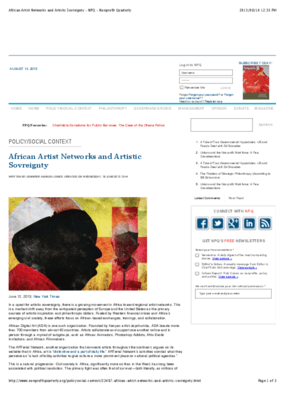 African Artist Networks and Artistic Sovreignty