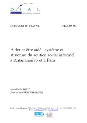 Aider et être Aidé: Système et Structure du Soutien Social Informel à Antananarivo et à Paris