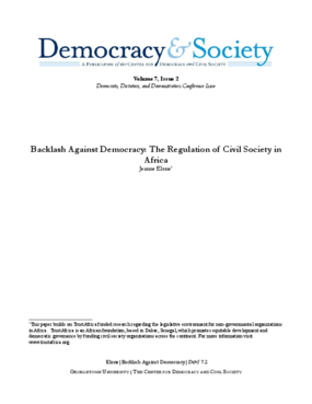 Backlash Against Democracy: The Regulation of Civil Society in Africa