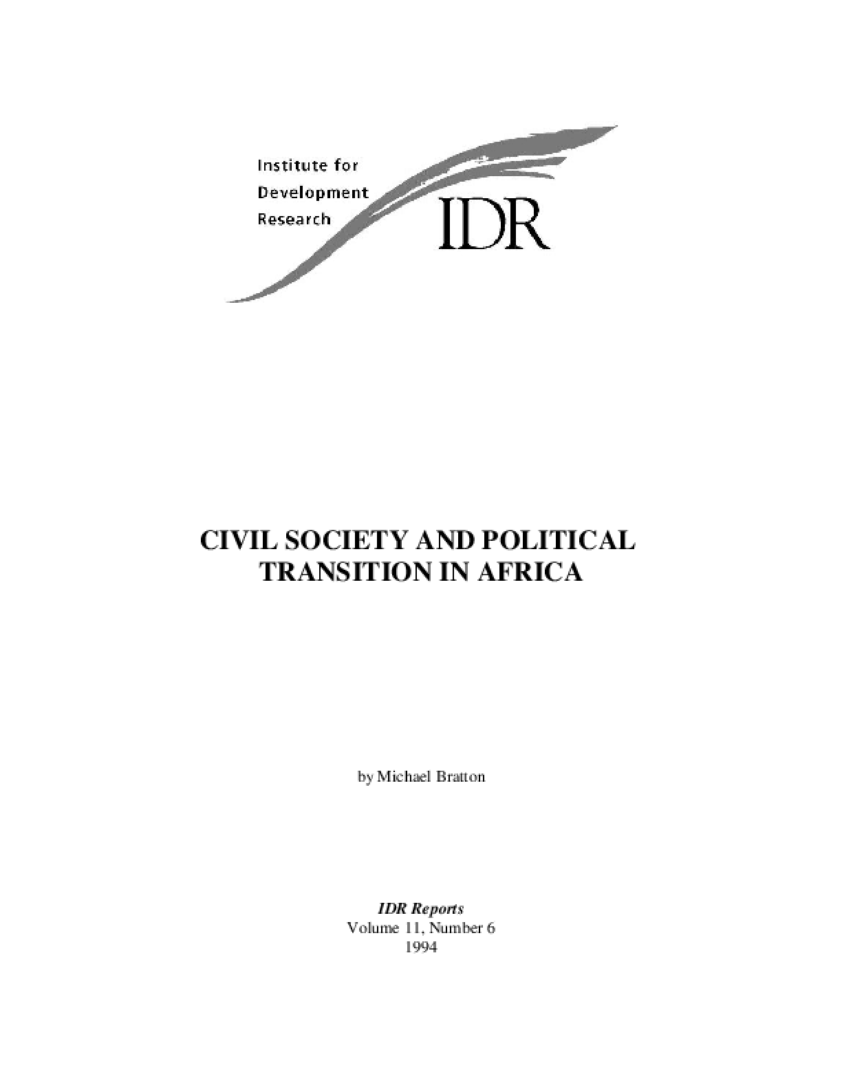 Civil Society and Political Transition in Africa