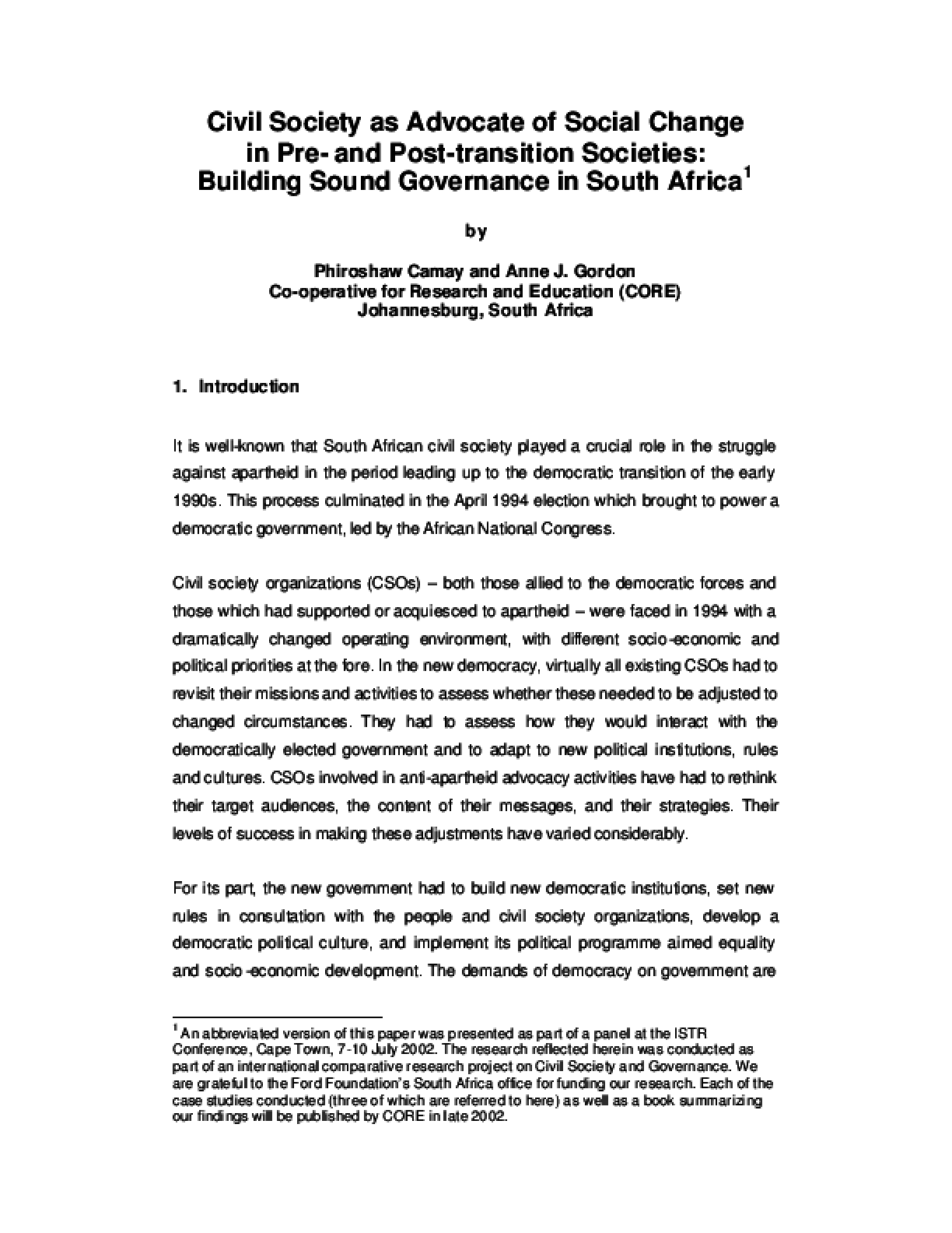 Civil Society as Advocate of Social Change in Pre-and Post-transition Societies: Building Sound Governance in South Africa