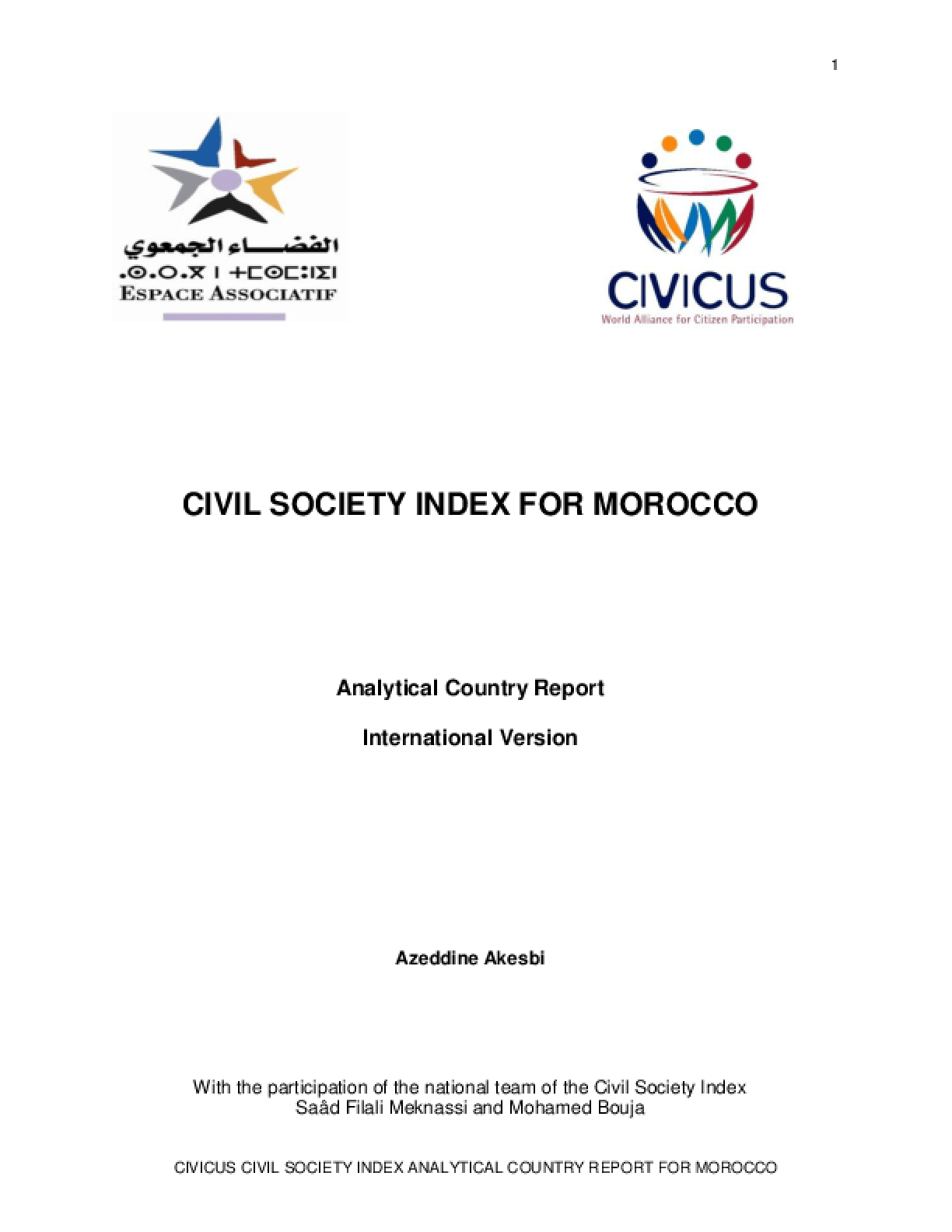 Civil Society Index for Morocco: Analytical Country Report