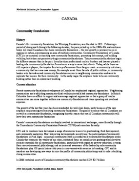 Community Foundation Global Status Report, Canada