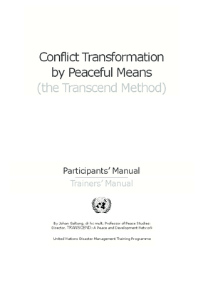 Conflict Transformation by Peaceful Means (the Transcend Method)