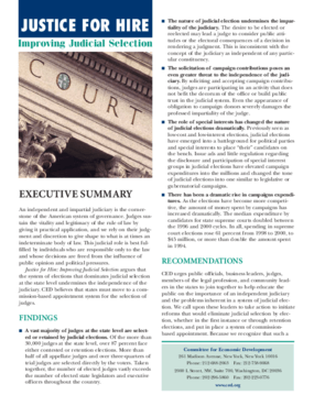 Justice for Hire: Improving Judicial Selection - Executive Summary
