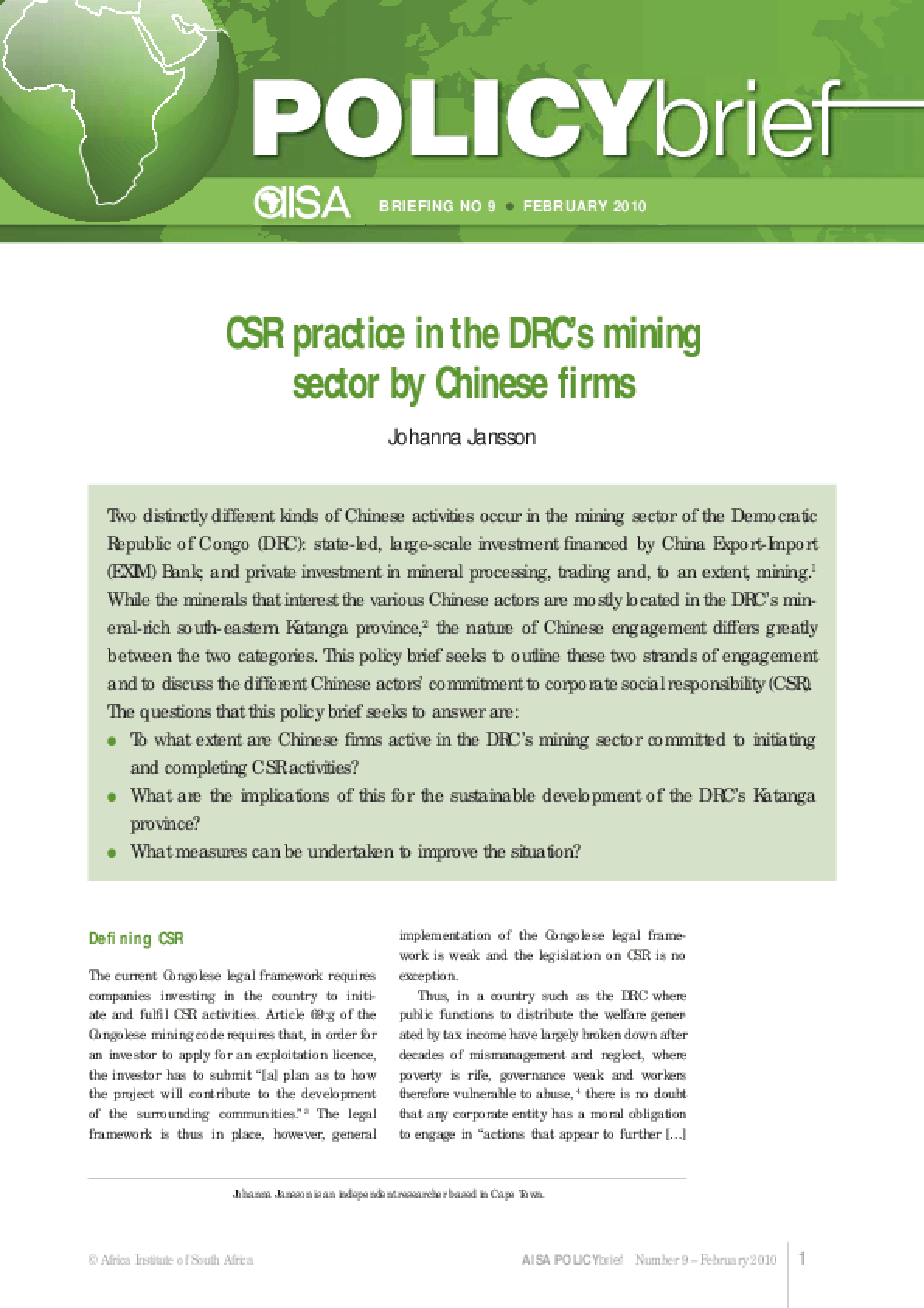 CSR Practice in the Drc's Mining Sector by Chinese Firms