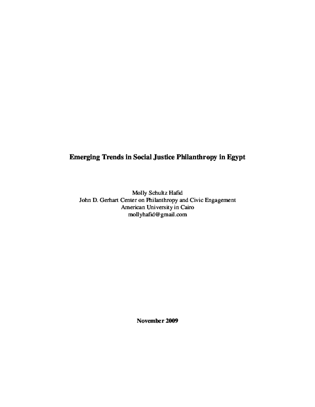 Emerging Trends in Social Justice Philanthropy in Egypt