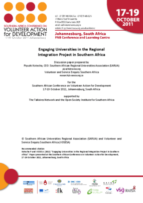 Engaging Universities in the Regional Integration Project in Southern Africa