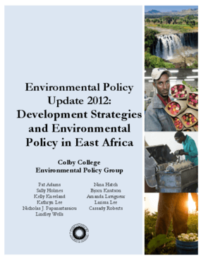 Environmental Policy Update 2012: Development Strategies and Environmental Policy in East Africa