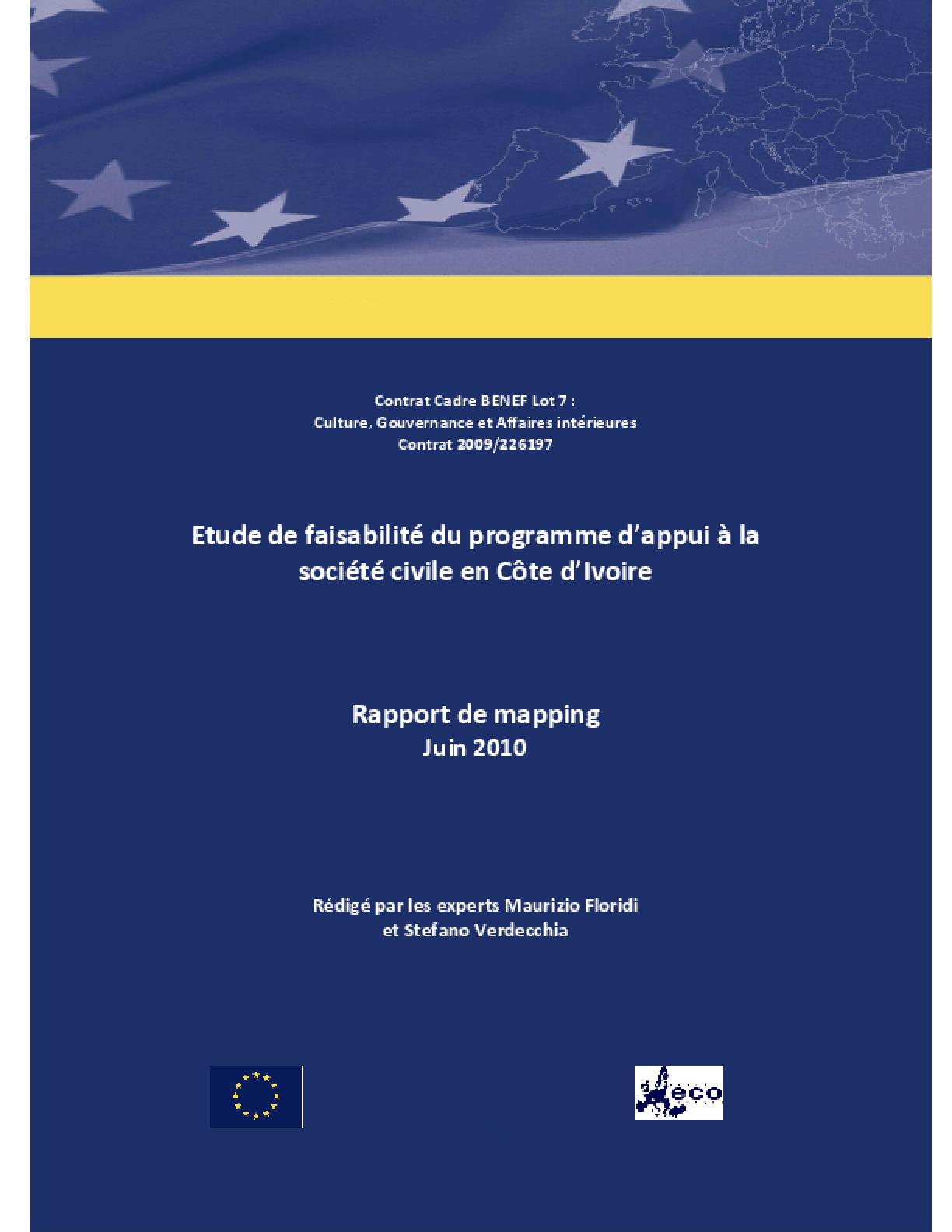 Etude de Faisabilité du Programme D'appui à la Société Civile en Côte D'ivoire