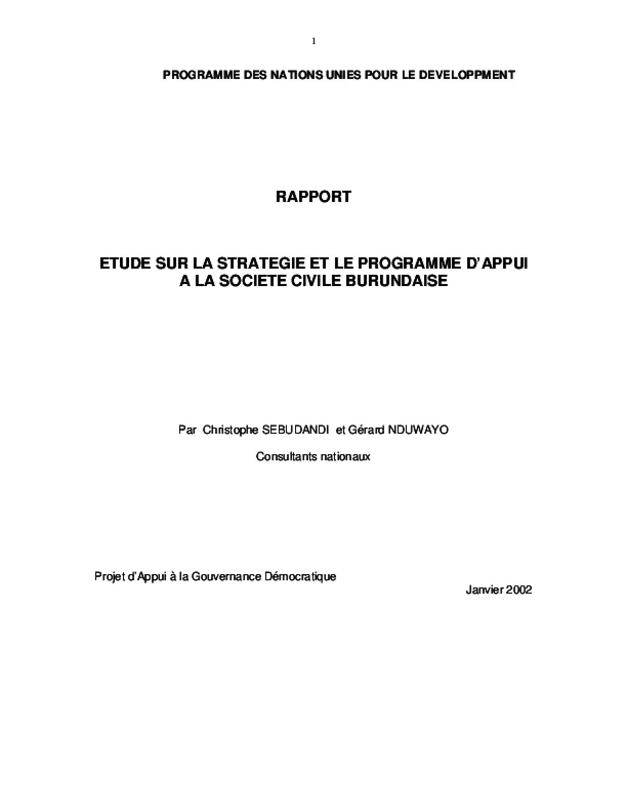 Etude Sur la Stratégie et le Programme D'appui à la Société Civile Burundaise