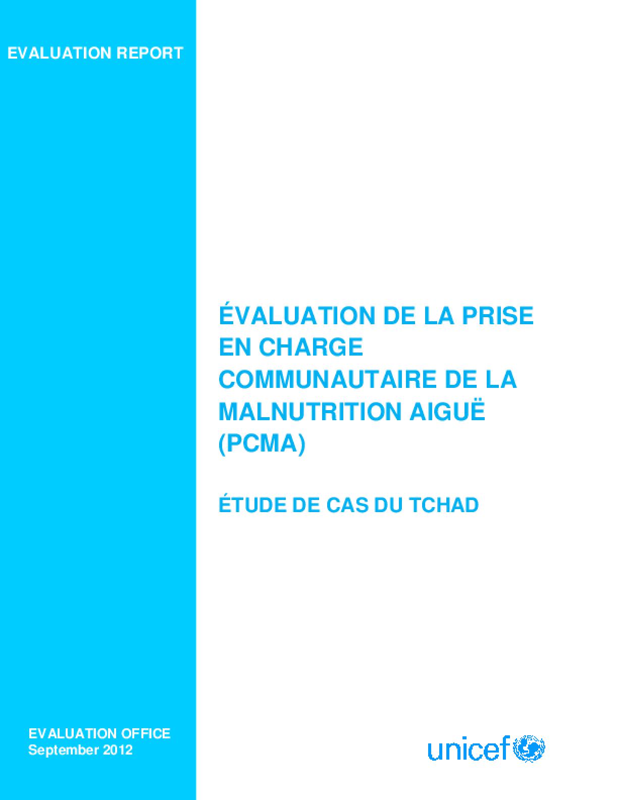 Evaluation de la Prise en Charge Communautaire de la Malnutrition Aigüe: Etude de Cas du Tchad