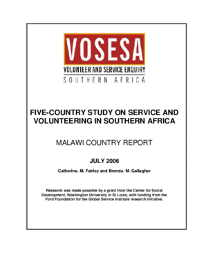 Five-country Study on Service and Volunteering in Southern Africa Malawi Country Report