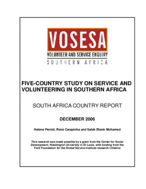 Five-country Study on Service and Volunteering in Southern Africa: South Africa Country Report