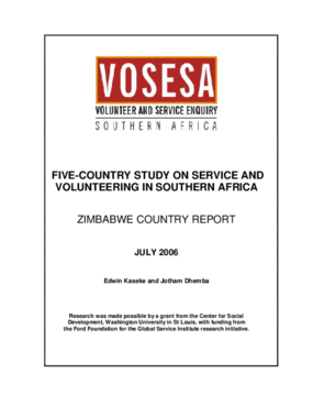 Five-country Study on Service and Volunteering in Southern Africa: Zimbabwe Country Report