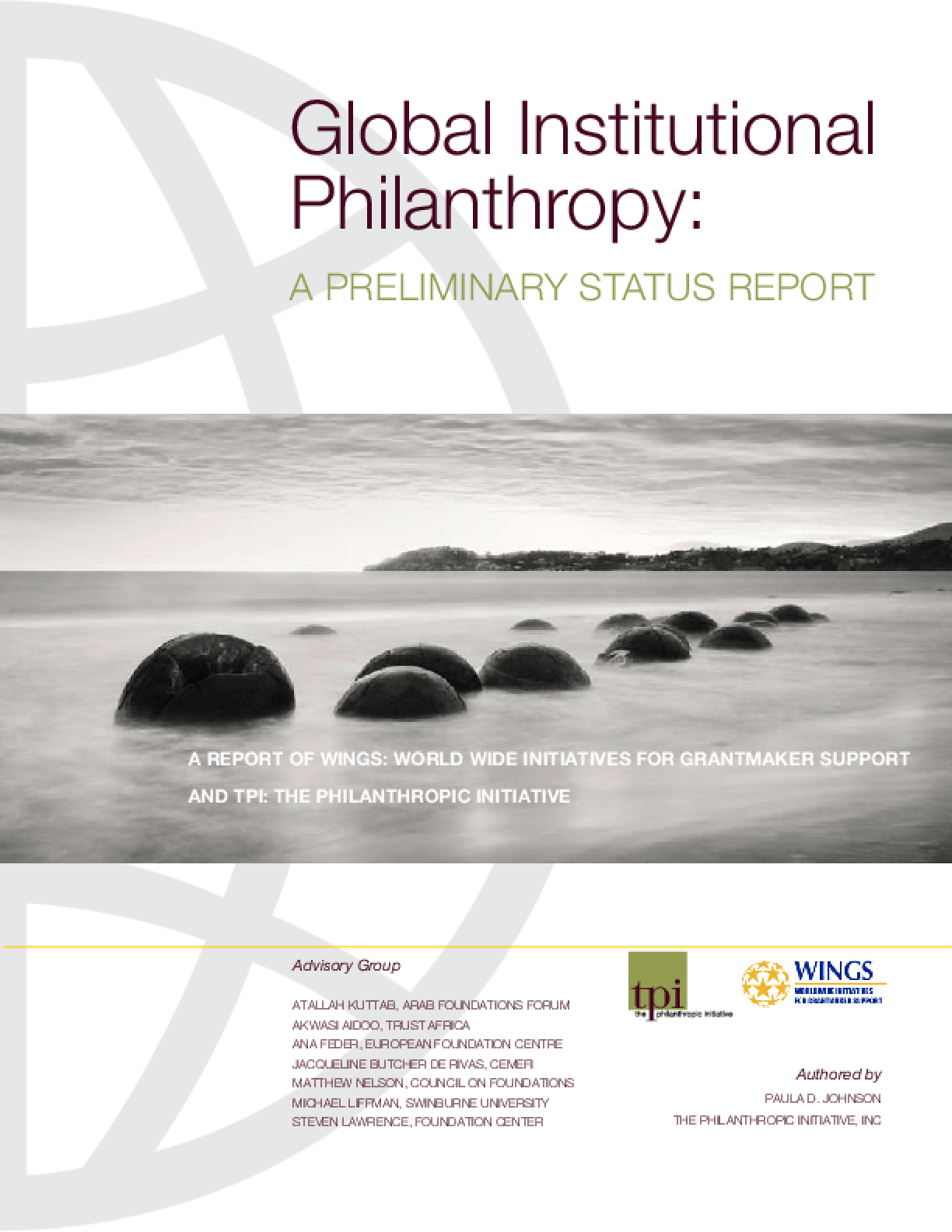 Global Institutional Philanthropy: A Preliminary Report