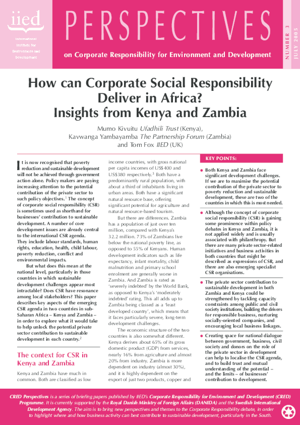 How Can Corporate Social Responsibility Deliver in Africa? Insights from Kenya and Zambia
