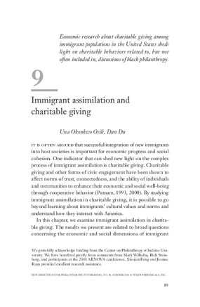 Immigrant Assimilation and Charitable Giving