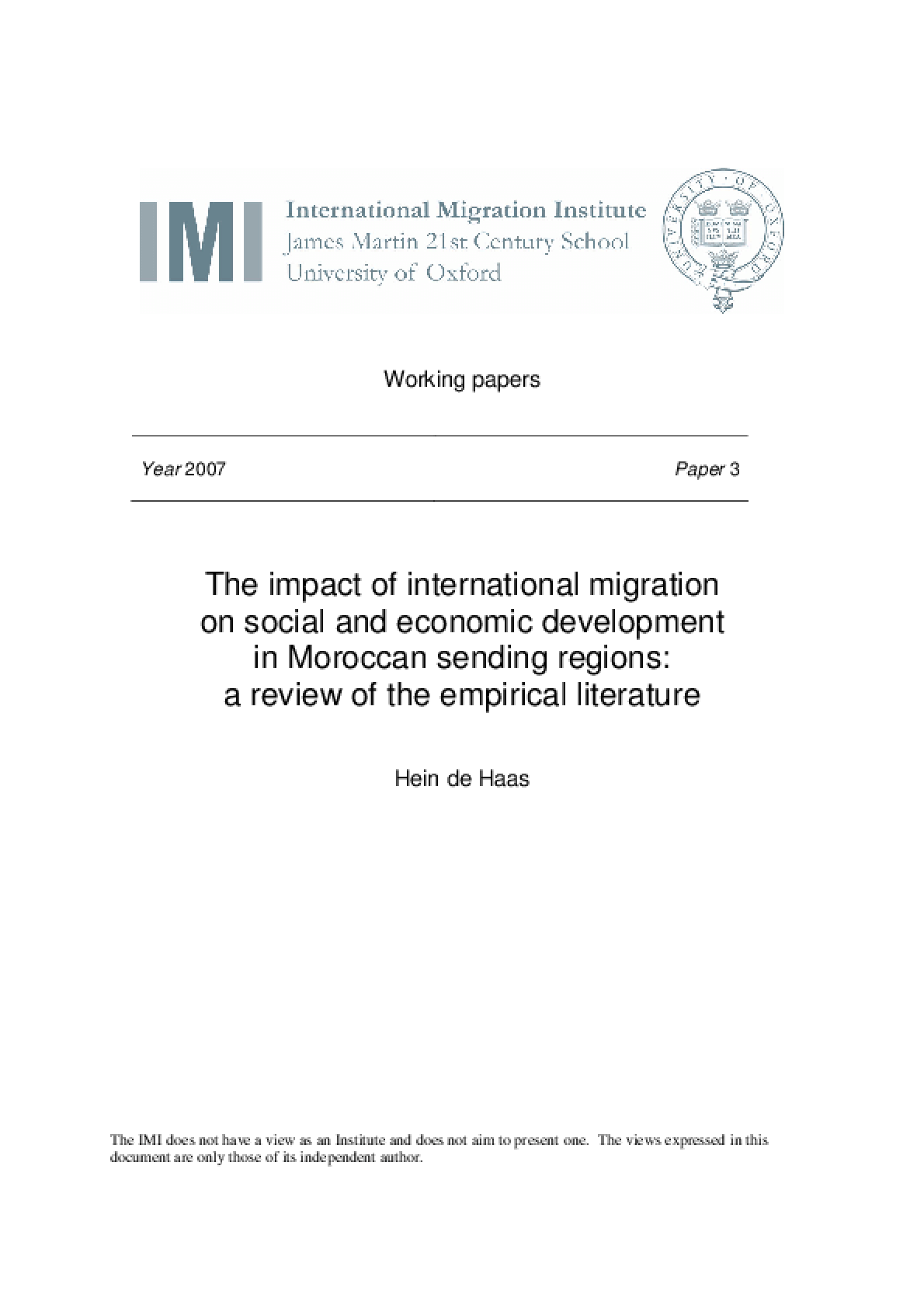 The Impact of International Migration on Social and Economic Development in Moroccan Sending Regions: A Review of the Empirical Literature