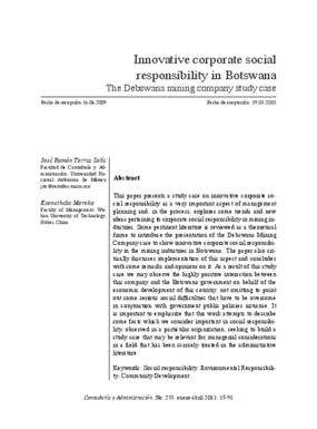 Innovative Corporate Social Responsibility in Botswana: The Debswana Mining Company Study Case