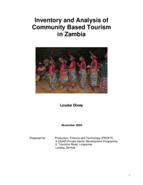 Inventory and Analysis of Community Based Tourism in Zambia