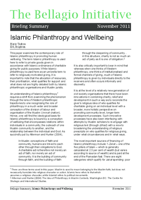 Islamic Philanthropy and Wellbeing