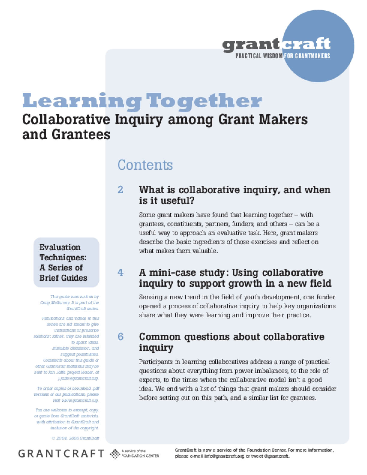 Learning Together: Collaborative Inquiry Beween Grant Makers and Grantees