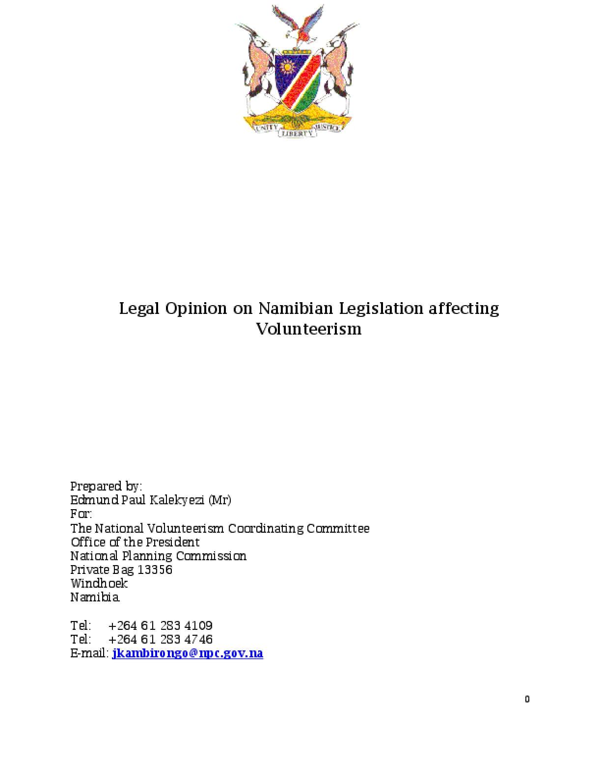 Legal Opinion on Namibian Legislation Affecting Volunteerism