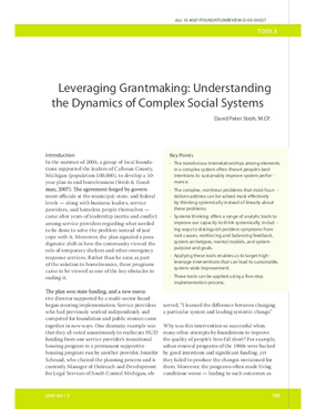 Leveraging Grantmaking: Understanding the Dynamics of Complex Social Systems