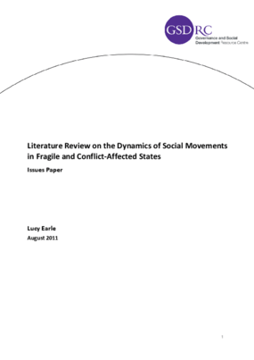 Literature Review on the Dynamics of Social Movements in Fragile and Conflict-affected States
