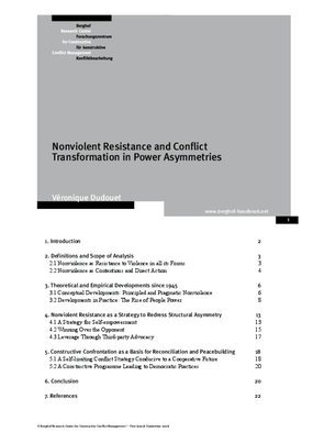 Nonviolent Resistance and Conflict Transformation in Power Asymmetries
