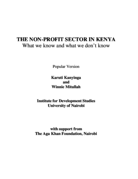 The Non-profit Sector in Kenya: What We Know and What We Don't Know