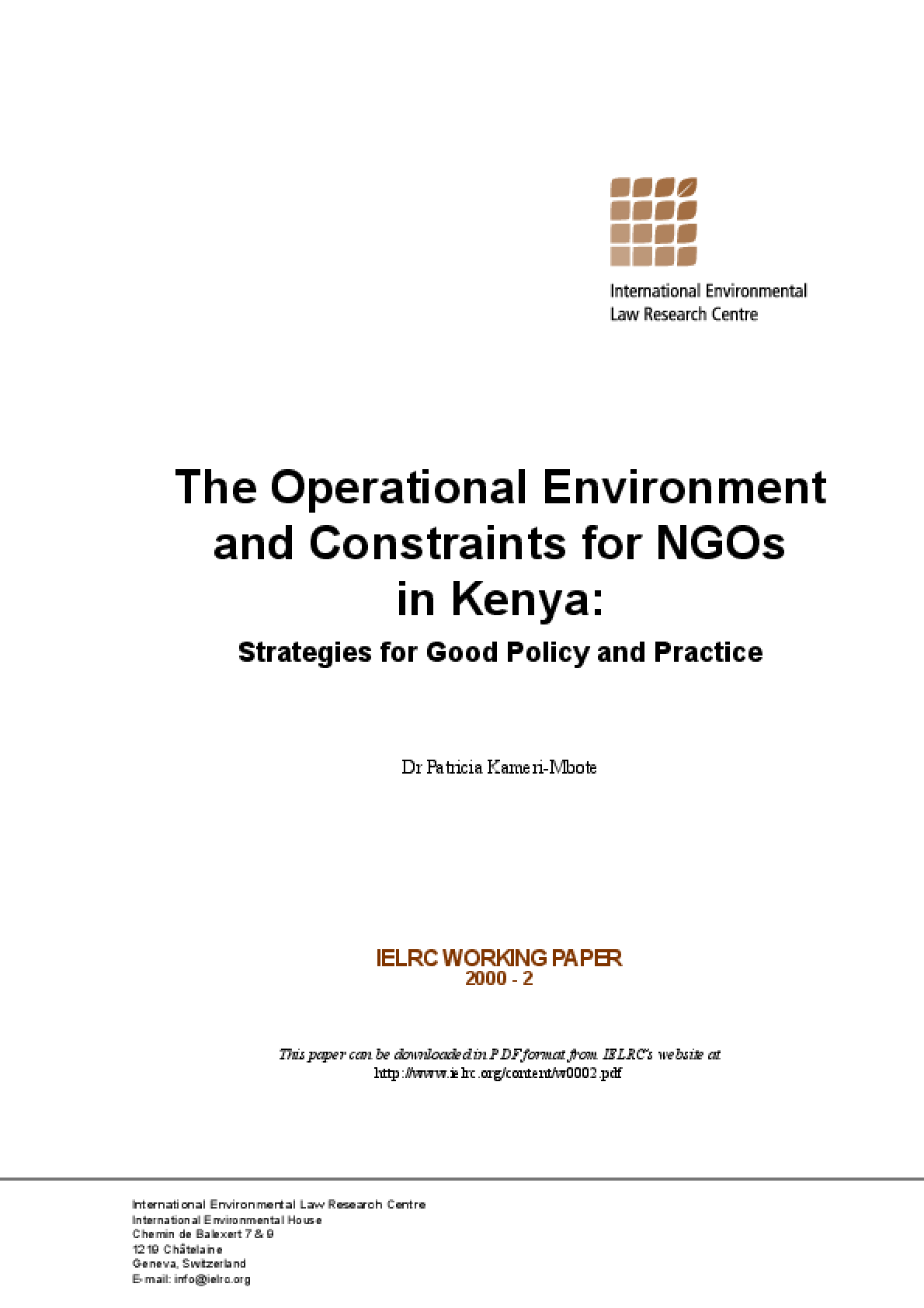 The Operational Environment and Constraints for NGOs in Kenya: Strategies for Good Policy and Practice