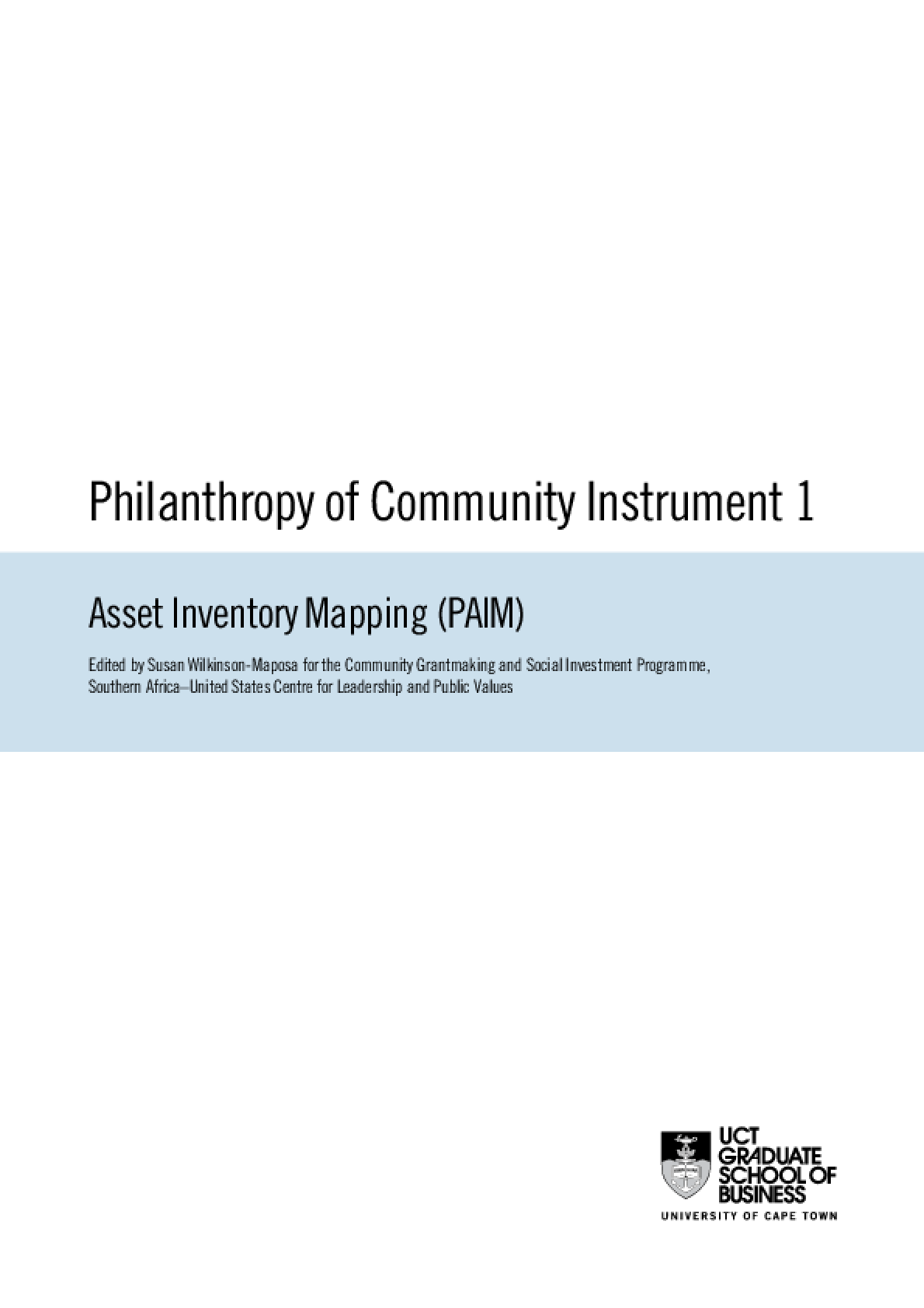Philanthropy of Community Instrument 1: Asset Inventory Mapping (PAIM)