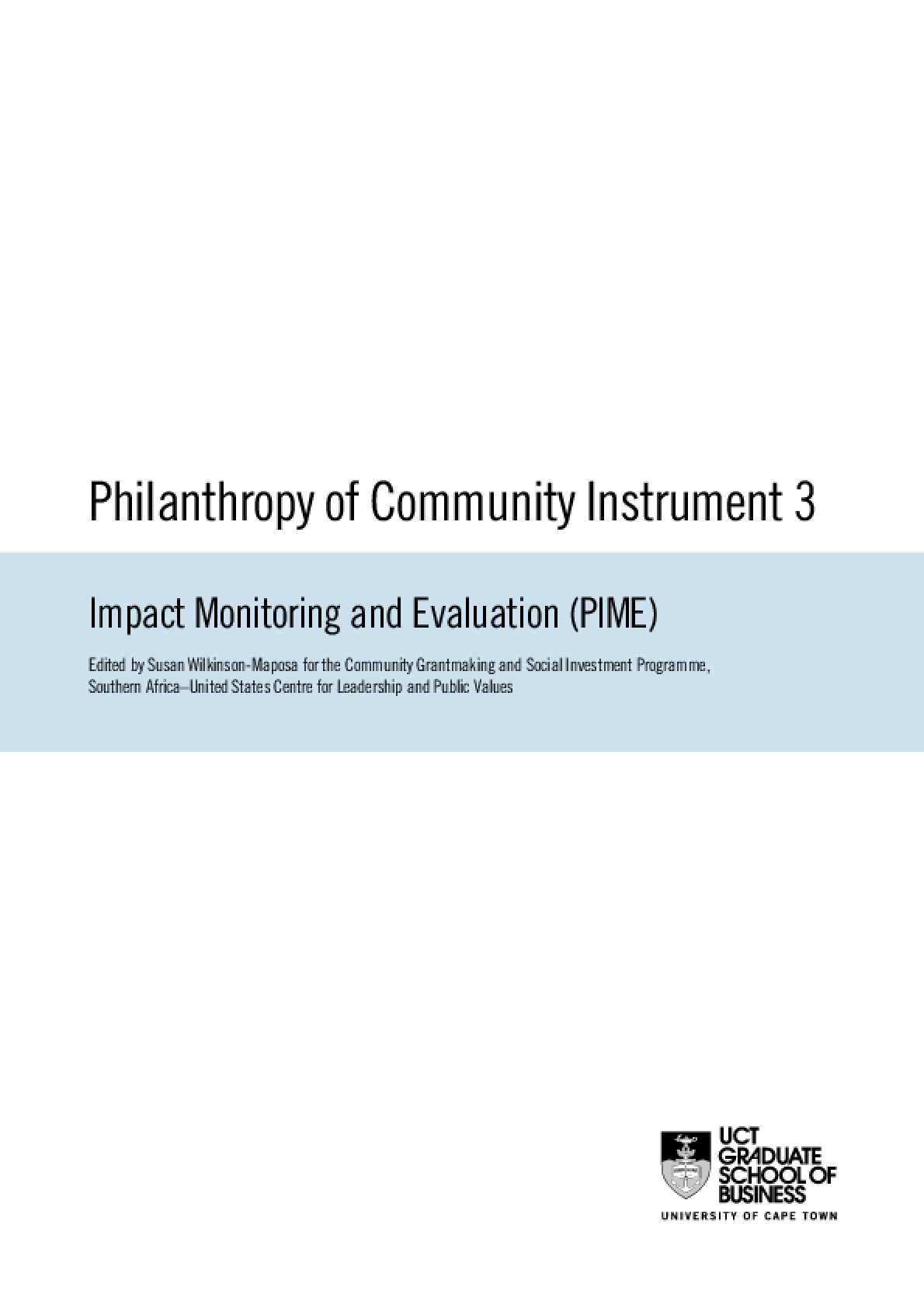 Philanthropy of Community Instrument 3: Impact Monitoring and Evaluation (PIME)