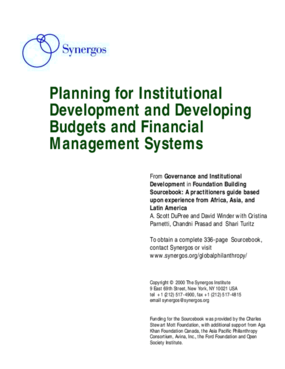 Planning for Institutional Development and Developing Budgets and Financial Management Systems