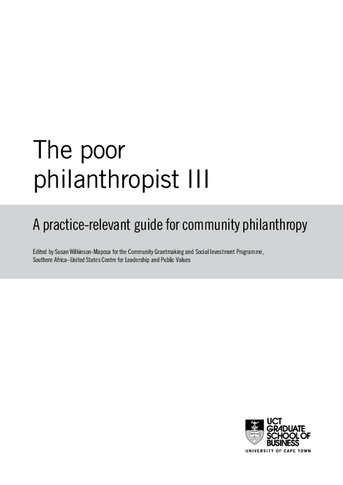 Poor Philanthropist III: A Practice-relevant Guide for Community Philanthropy