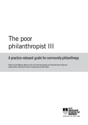 Poor Philanthropist III: A Practice-relevant Guide for Community Philanthropy