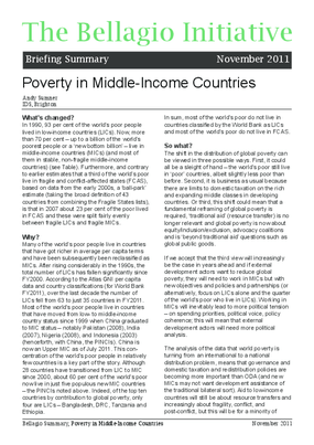 Poverty in Middle Income Countries
