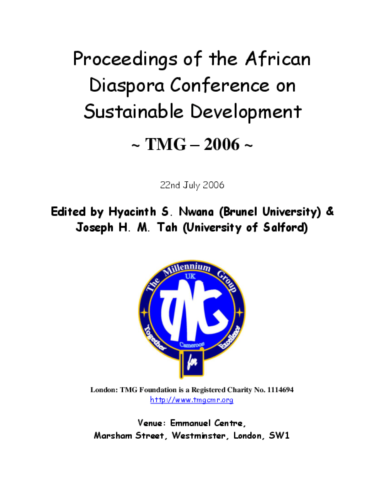 Proceedings of the African Diaspora Conference on Sustainable Development
