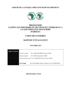 Programme D'appui Aux Réformes du Secteur de L'énergie et à la Gouvernance Financière
