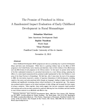 The Promise of Preschool in Africa: A Randomized Impact Evaluation of Early Childhood Development in Rural Mozambique