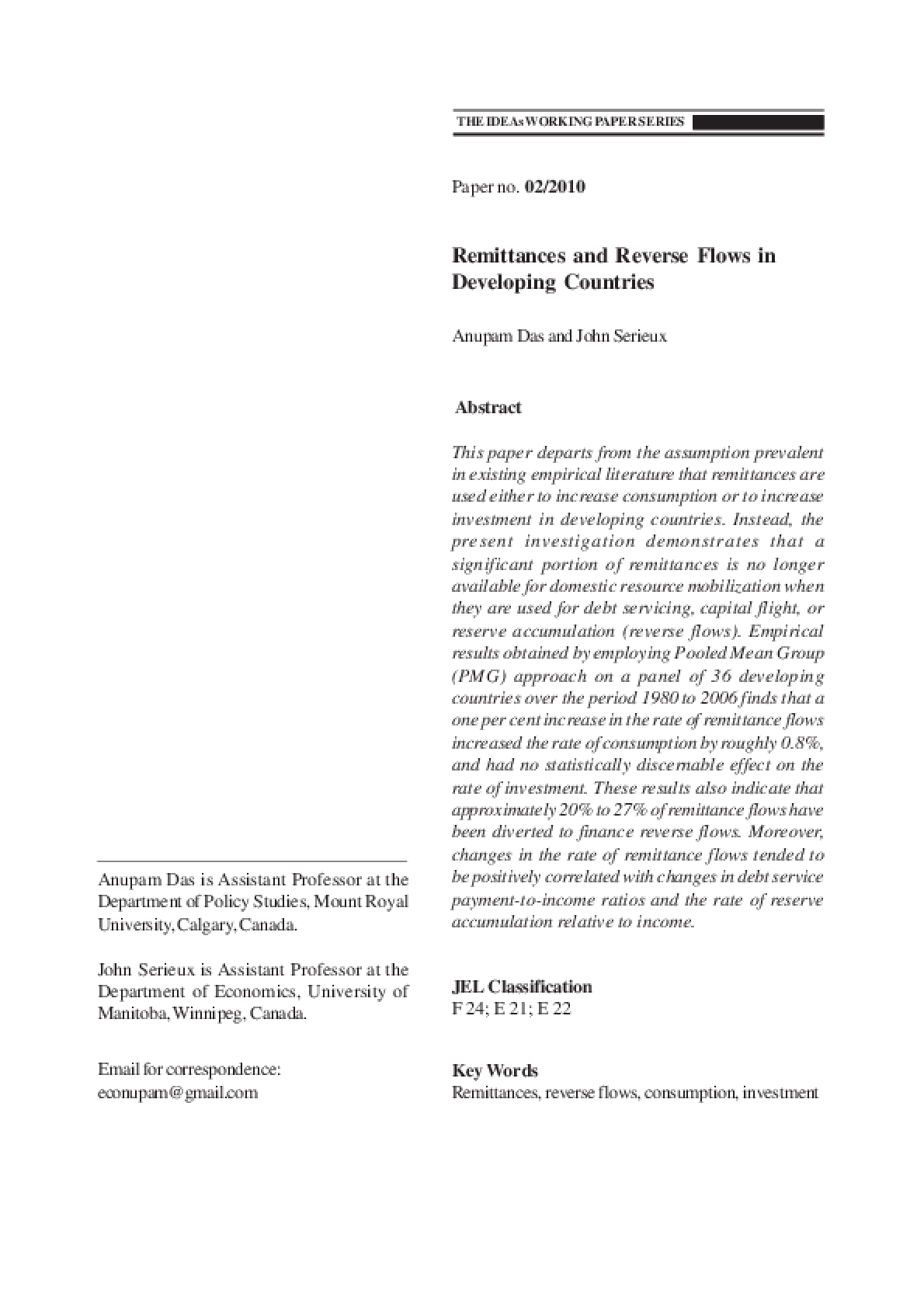 Remittances and Reverse Flows in Developing Countries