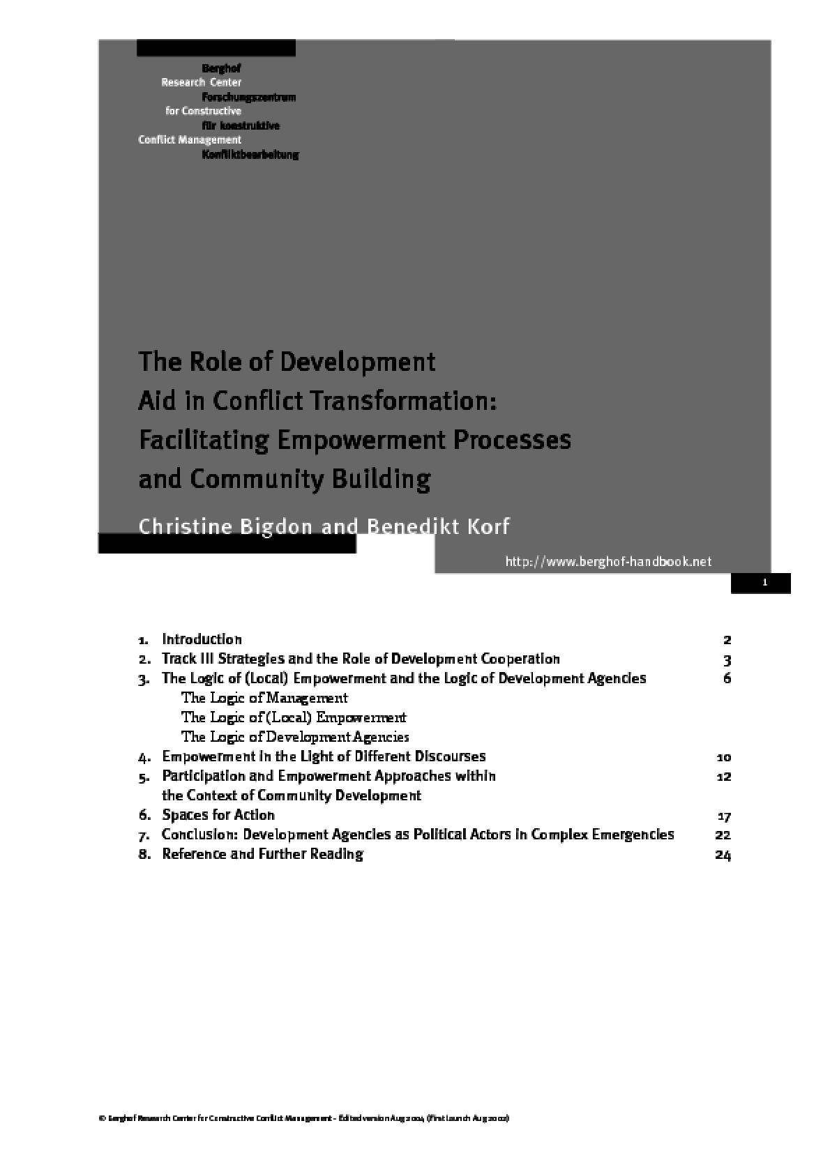 The Role of Development Aid in Conflict Transformation: Facilitating Empowerment Processes and Community Building
