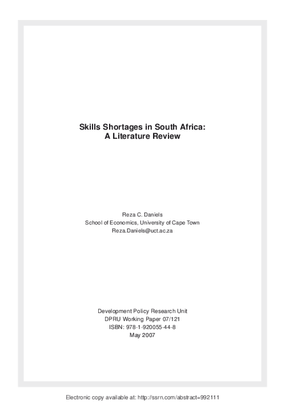Skills Shortages in South Africa: A Literature Review