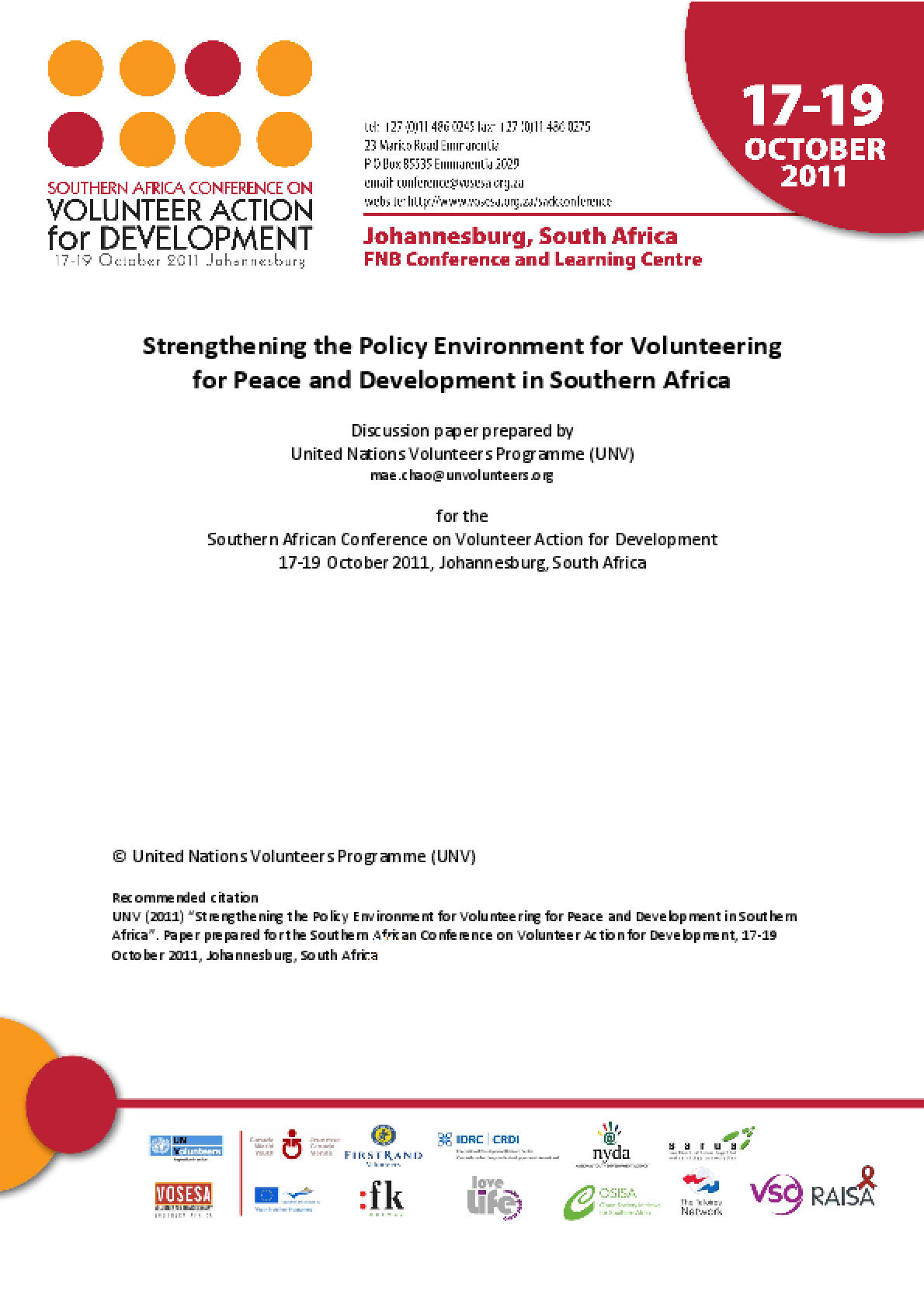 Strengthening the Policy Environment for Volunteering for Peace and Development in Southern Africa