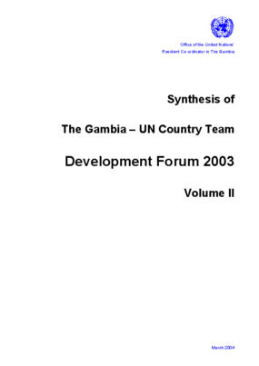 Synthesis of the Gambia-un Country Team Development Forum 2003