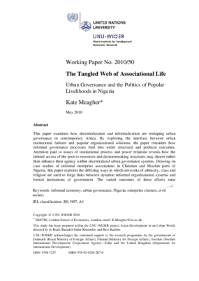 Tangled Web of Associational Life: Urban Governance and the Politics of Popular Livelihoods in Nigeria