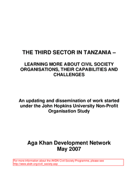 The Third Sector in Tanzania: Learning More About Civil Society Organisations, Their Capabilities and Challenges